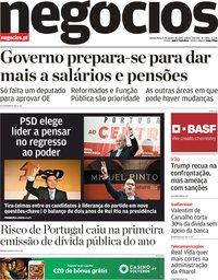 capa Jornal de Negócios de 9 janeiro 2020
