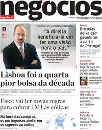 capa Jornal de Negócios de 13 janeiro 2020