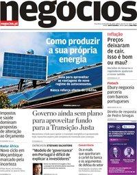 capa Jornal de Negócios de 14 janeiro 2020