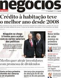 capa Jornal de Negócios de 15 janeiro 2020