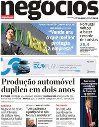 capa Jornal de Negócios de 16 janeiro 2020