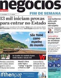 capa Jornal de Negócios de 17 janeiro 2020