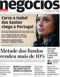 capa Jornal de Negócios de 21 janeiro 2020