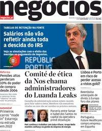 capa Jornal de Negócios de 22 janeiro 2020