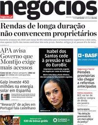 capa Jornal de Negócios de 23 janeiro 2020