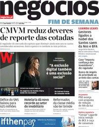 capa Jornal de Negócios de 24 janeiro 2020