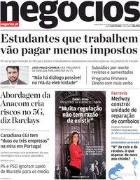 capa Jornal de Negócios de 27 janeiro 2020