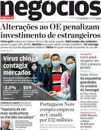 capa Jornal de Negócios de 28 janeiro 2020