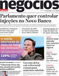 capa Jornal de Negócios de 29 janeiro 2020