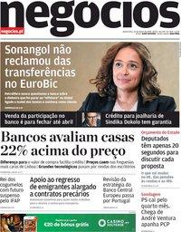 capa Jornal de Negócios de 30 janeiro 2020