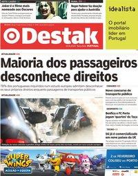 capa Jornal Destak de 14 janeiro 2020