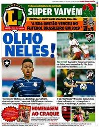 capa Jornal Lance! Rio de Janeiro de 5 janeiro 2020