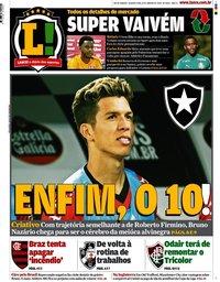capa Jornal Lance! Rio de Janeiro de 8 janeiro 2020