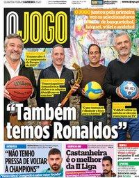 capa Jornal O Jogo de 1 janeiro 2020