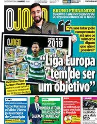 capa Jornal O Jogo de 2 janeiro 2020