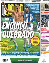 capa Jornal O Jogo de 6 janeiro 2020