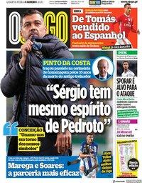 capa Jornal O Jogo de 8 janeiro 2020
