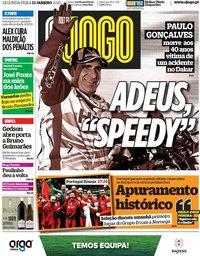 capa Jornal O Jogo de 13 janeiro 2020