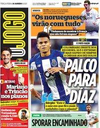capa Jornal O Jogo de 14 janeiro 2020