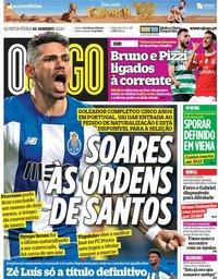 capa Jornal O Jogo de 16 janeiro 2020