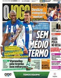 capa Jornal O Jogo de 20 janeiro 2020