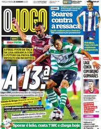 capa Jornal O Jogo de 21 janeiro 2020