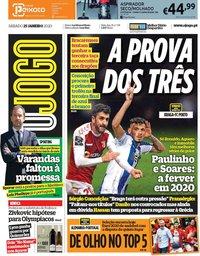 capa Jornal O Jogo de 25 janeiro 2020