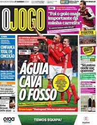 capa Jornal O Jogo de 27 janeiro 2020