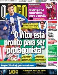 capa Jornal O Jogo de 30 janeiro 2020