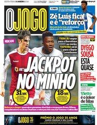 capa Jornal O Jogo de 31 janeiro 2020