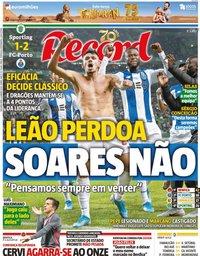 capa Jornal Record de 6 janeiro 2020