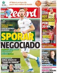 capa Jornal Record de 8 janeiro 2020
