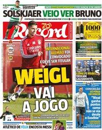 capa Jornal Record de 12 janeiro 2020