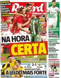 capa Jornal Record de 15 janeiro 2020