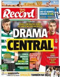 capa Jornal Record de 16 janeiro 2020
