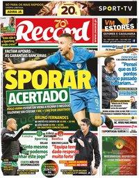 capa Jornal Record de 17 janeiro 2020
