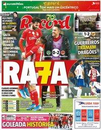 capa Jornal Record de 18 janeiro 2020