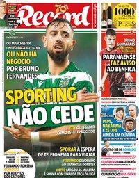 capa Jornal Record de 20 janeiro 2020