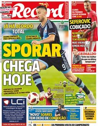 capa Jornal Record de 21 janeiro 2020