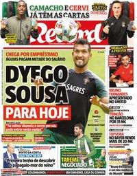 capa Jornal Record de 31 janeiro 2020