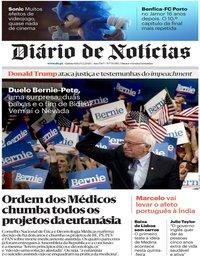 capa Diário de Notícias de 13 fevereiro 2020