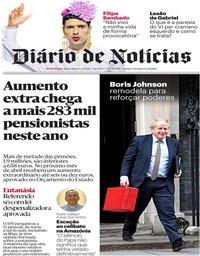 capa Diário de Notícias de 14 fevereiro 2020