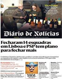 capa Diário de Notícias de 15 fevereiro 2020