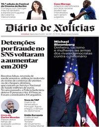 capa Diário de Notícias de 19 fevereiro 2020