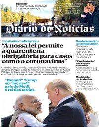 capa Diário de Notícias de 25 fevereiro 2020