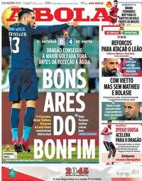 capa Jornal A Bola de 2 fevereiro 2020