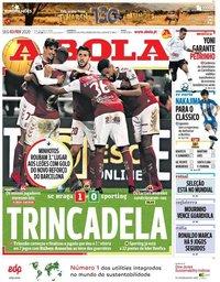 capa Jornal A Bola de 3 fevereiro 2020