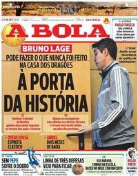 capa Jornal A Bola de 6 fevereiro 2020