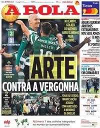 capa Jornal A Bola de 10 fevereiro 2020