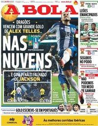 capa Jornal A Bola de 24 fevereiro 2020